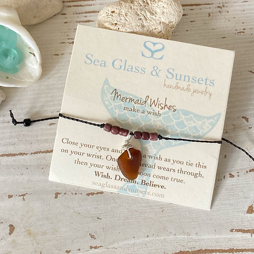 Mermaid Wishes adjustable sea glass wish bracelet