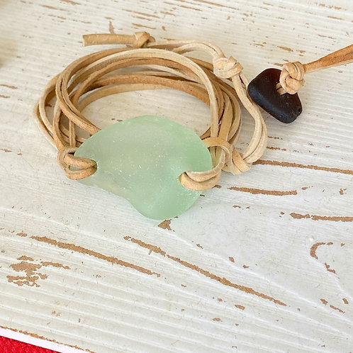 Beige faux suede sea foam sea glass wrap bracelet
