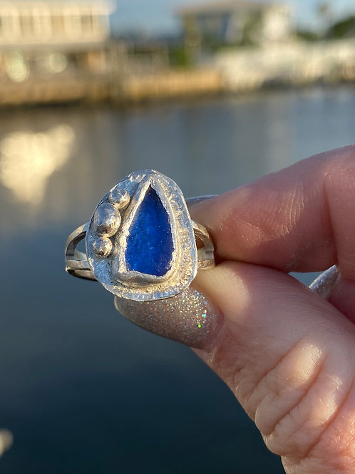 Cobalt blue sea glass ring