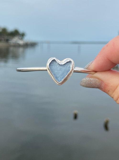 Sky Blue Heart sea glass bracelet