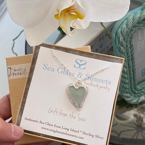 Sea Foam sea glass heart necklace