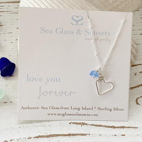 Simple Heart Sea Glass Necklace