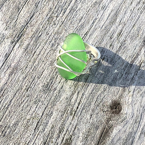 Green wire wrapped sea glass ring size 5