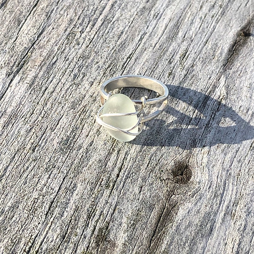 Mini sea foam sea glass ring, size 5