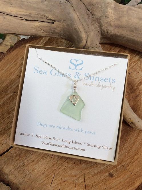 Sea Foam Paw Heart Necklace