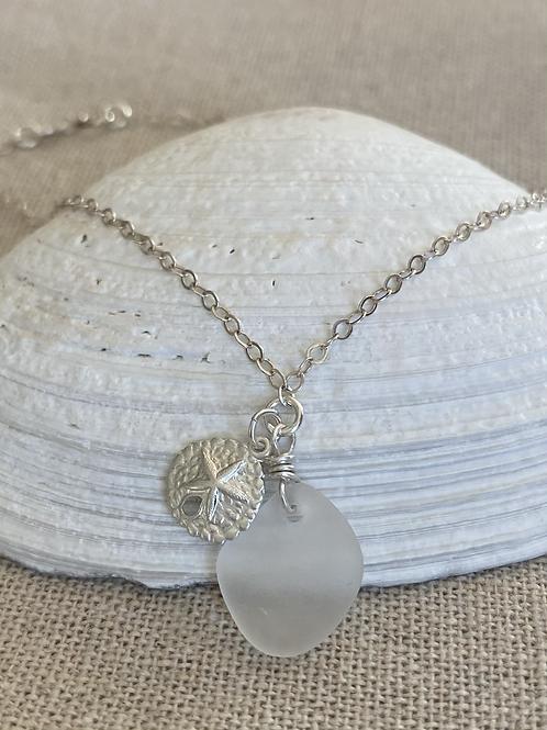 Clear  sea glass sterling silver sand dollar  earrings