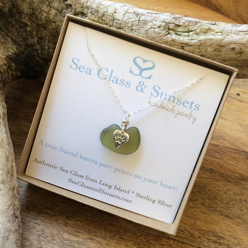 Olive Green Sterling Silver Paw Necklace