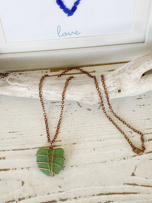 Antique copper feather green sea glass necklace