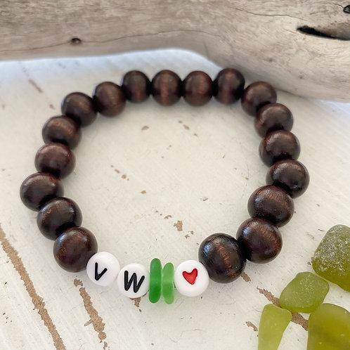 VW ❤️ (Volkswagen) Wooden Sea glass word bracelets