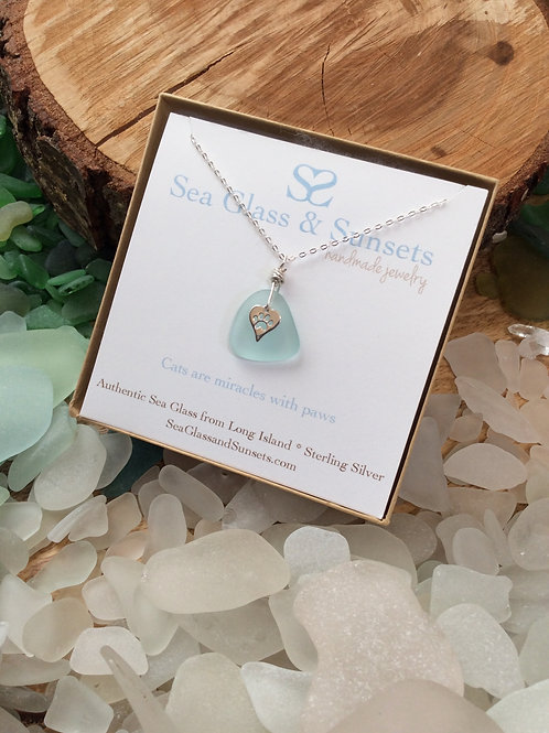 Glacier sea glass paw necklace