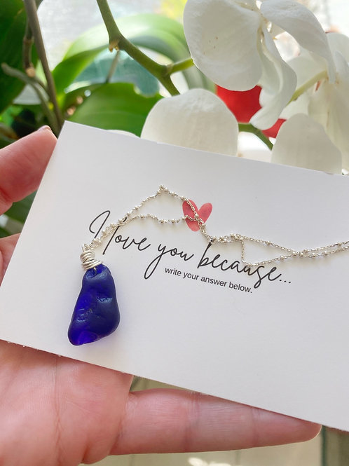 Sapphire of the sea cobalt sea glass necklace