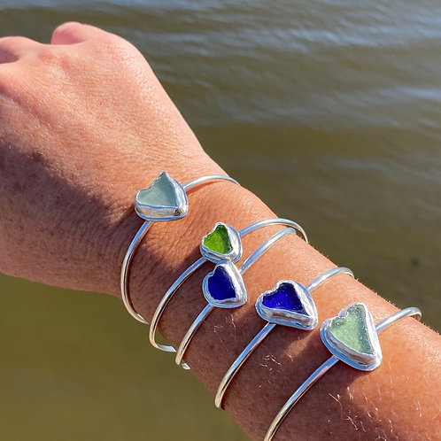 Heart sea glass bracelet