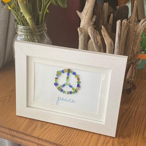 Multi colored peace  sea glass framed art