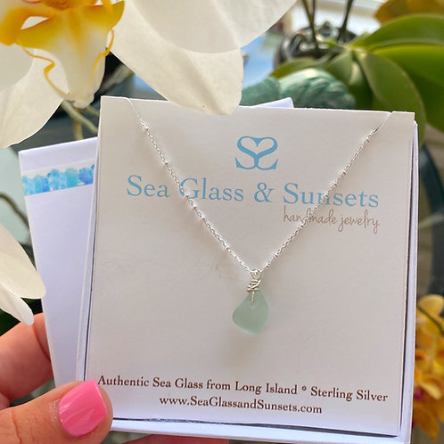 abstract sea foam sea glass necklace