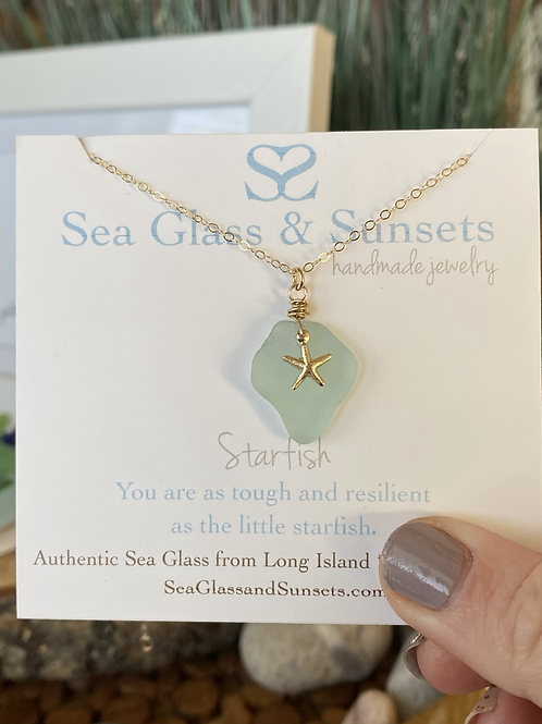 Gold Filled Sea Foam Starfish necklace