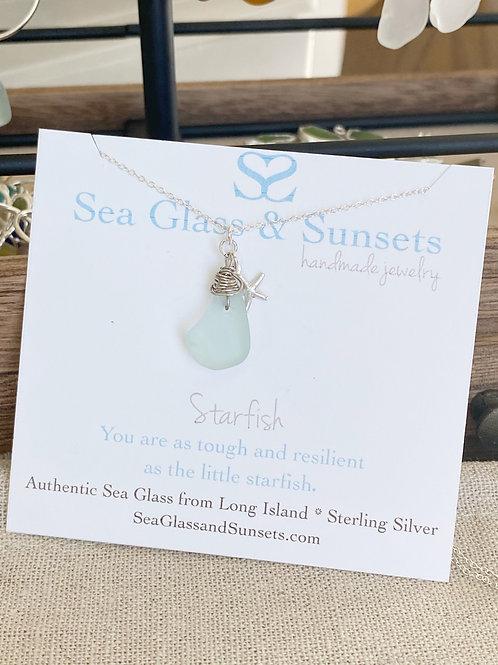 Sea foam sea glass starfish necklace