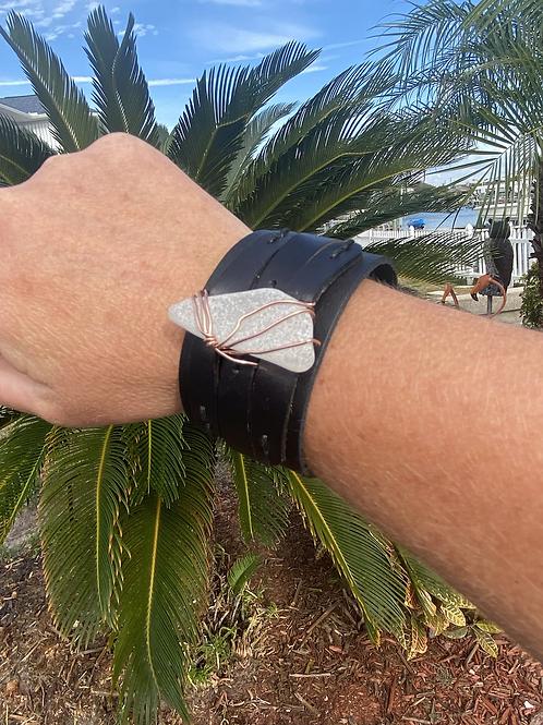 Leather Sea Glass Cuff