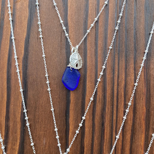 Cobalt  sea glass necklace with sterling starfish ch