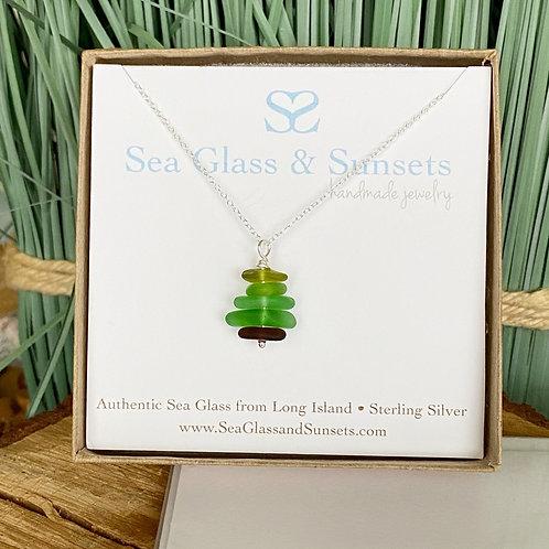 Christmas tree sea glass necklace