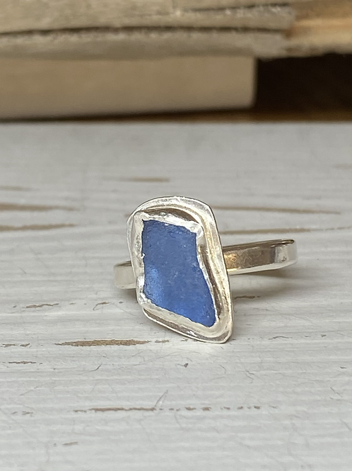 Cornflower blue bezel ring