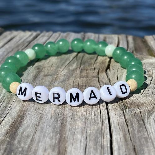 Mermaid jade glass stretchy word bracelets
