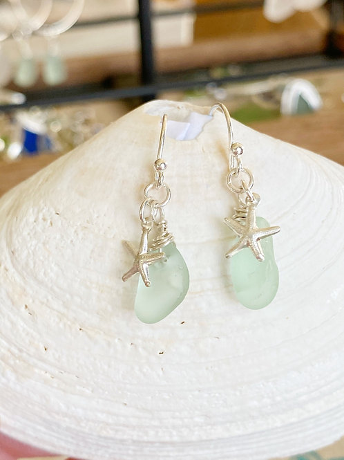 Sea foam sea glass sterling silver starfish earrings