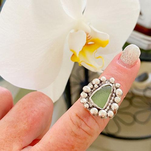 Tiny bubbles sea glass ring