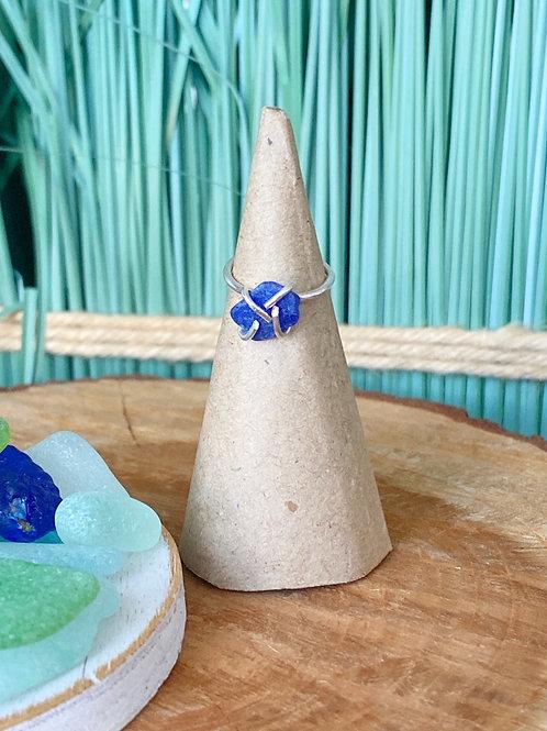 Custom made Prong set cobalt midi sea glass ring