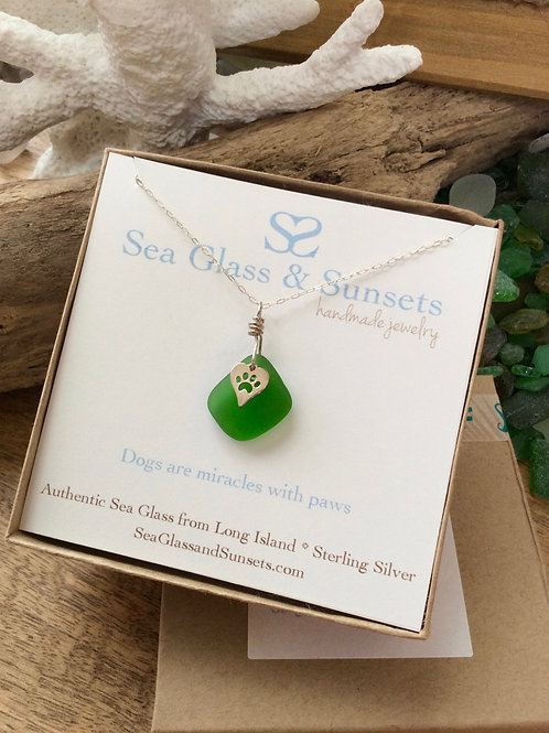 Kelly green sea glass paw heart necklace