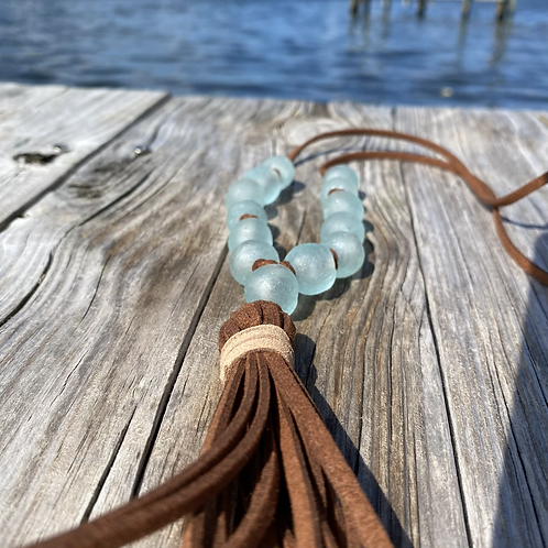 Faux Suede Recycled Glass Tassel Necklace