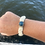 Thumbnail:  Blue recycled glass bead natural bracelet