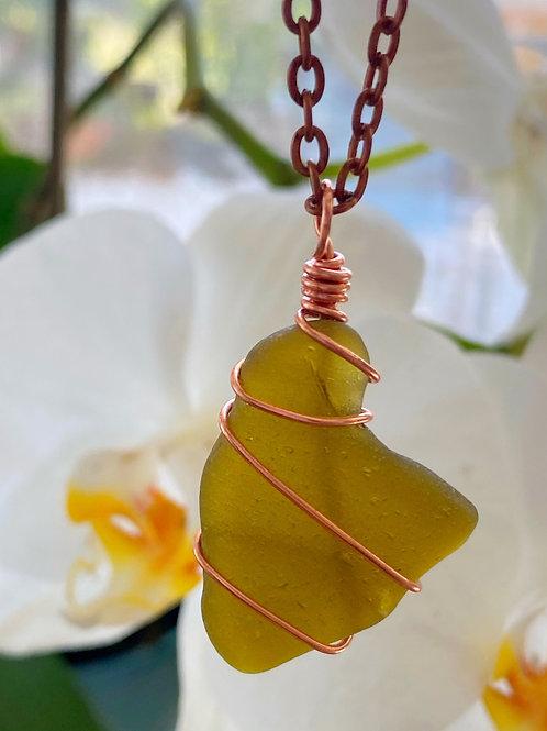 Antique copper feather citron sea glass necklace
