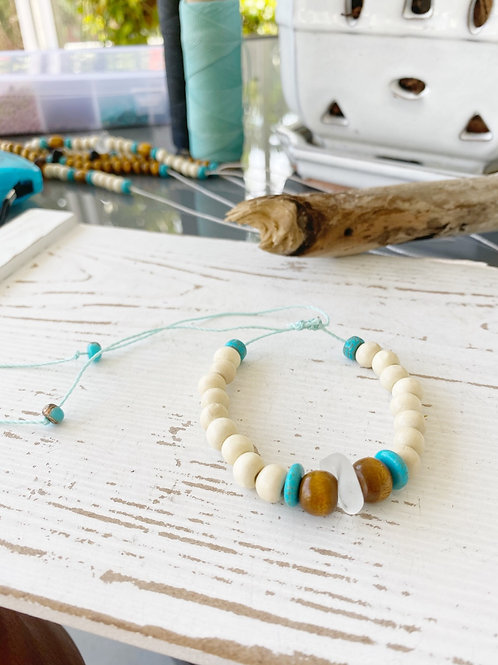Wooden bead and sea glass bracelet