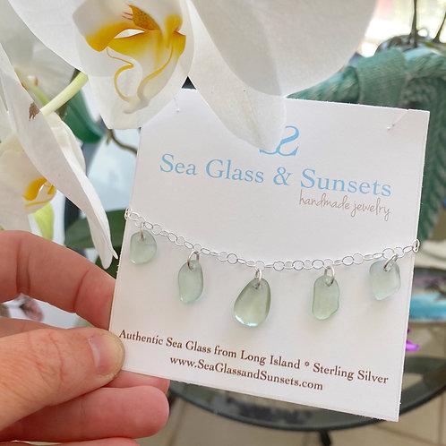 Sea foam sea glass bracelet/anklet