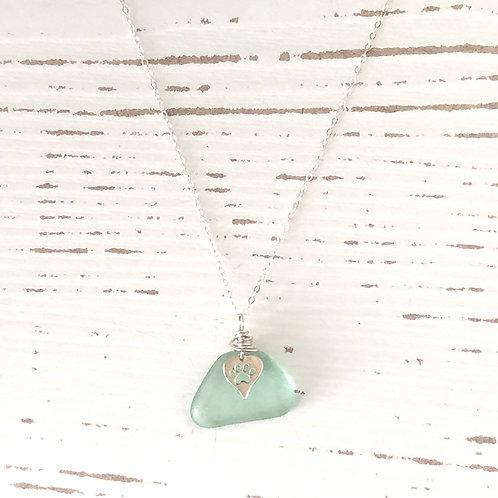 Wintergreen sea foam sea glass paw necklace