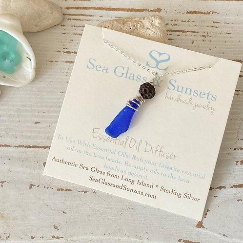 Sea Glass Lava Bead Essential Oil Diffuser Necklace