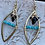 Thumbnail: Gold and turquoise shark tooth statement earrings