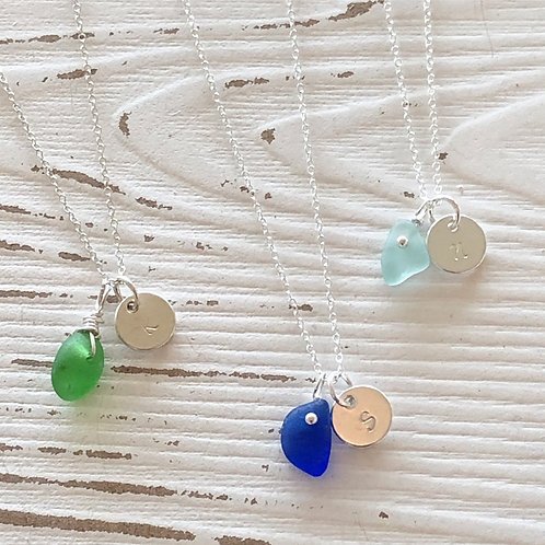 Buy One, Get One Sale • Sea Glass Initial Necklaces