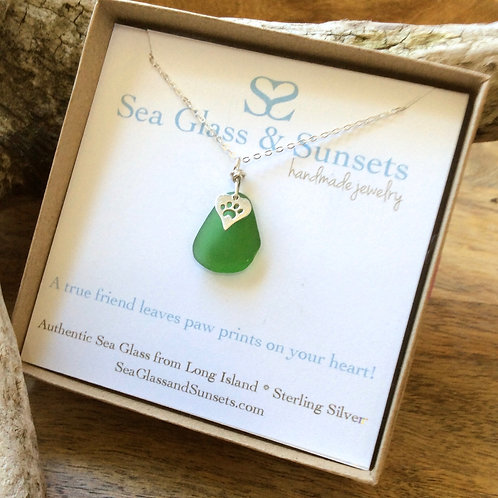 Green Sterling Silver Paw Necklace