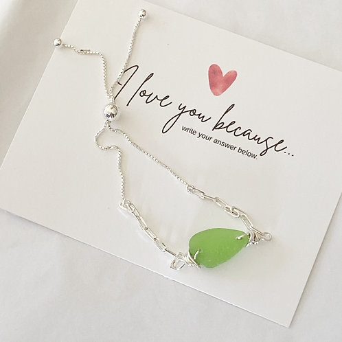 Adjustable sterling silver green  sea glass bracelet