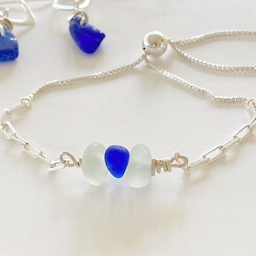 Adjustable sterling silver  sea glass bracelet