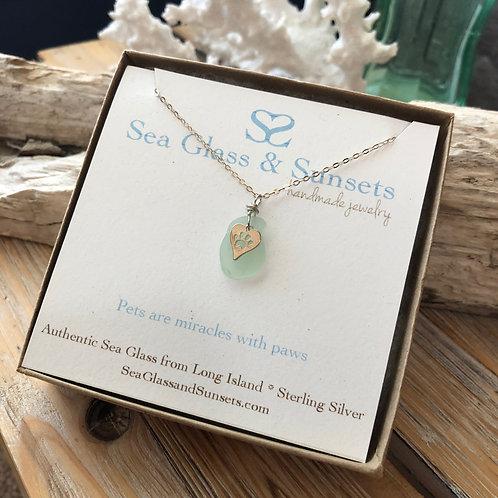 Sea foam paw print necklace