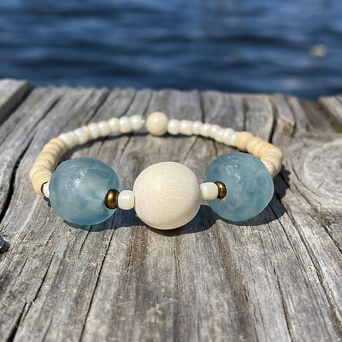 Light Blue recycled glass bead bracelet