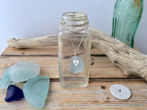 Large Light Blue paw print necklace