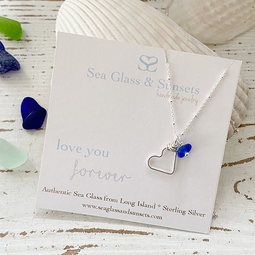 Simple Heart Sea Glass Necklace