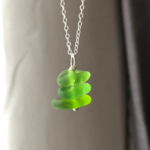 Lime Green Stacked sea glass trio