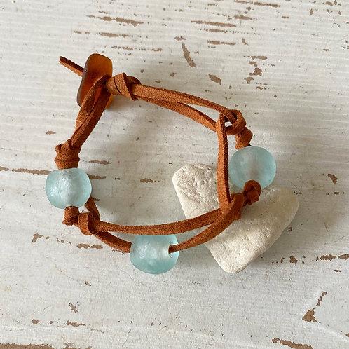 Boho sea foam faux suede bracelet