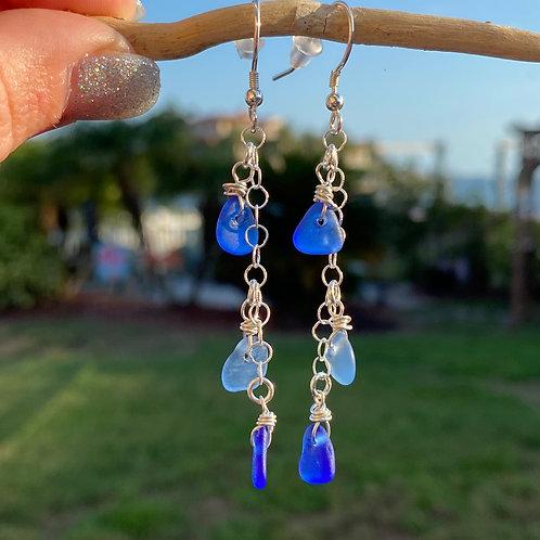 Multi colored blue sea glass earrings