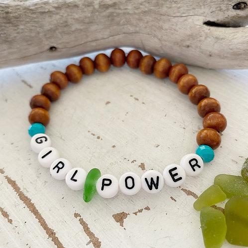 Girl Power Wooden Sea glass word bracelet