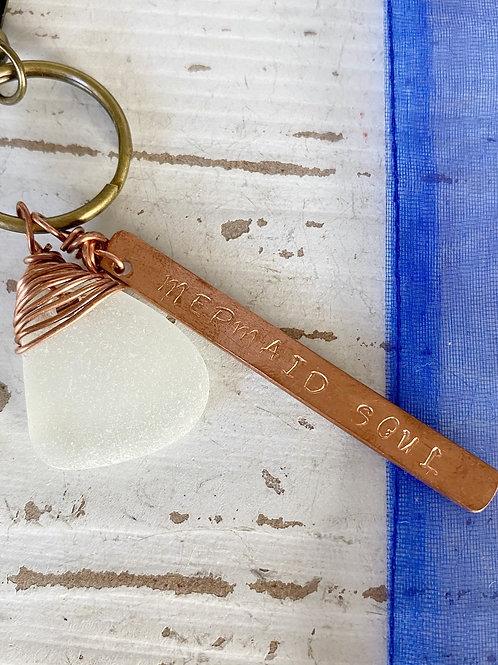 Sea glass keychain/bag charm